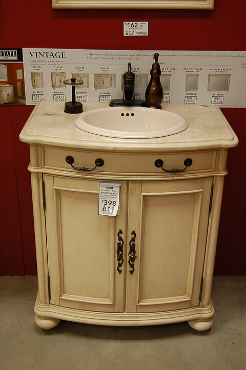 victorian style bathroom vanity from lowes - A Vanity For The Black And White 1940s Bathroom: 7-day Gut
