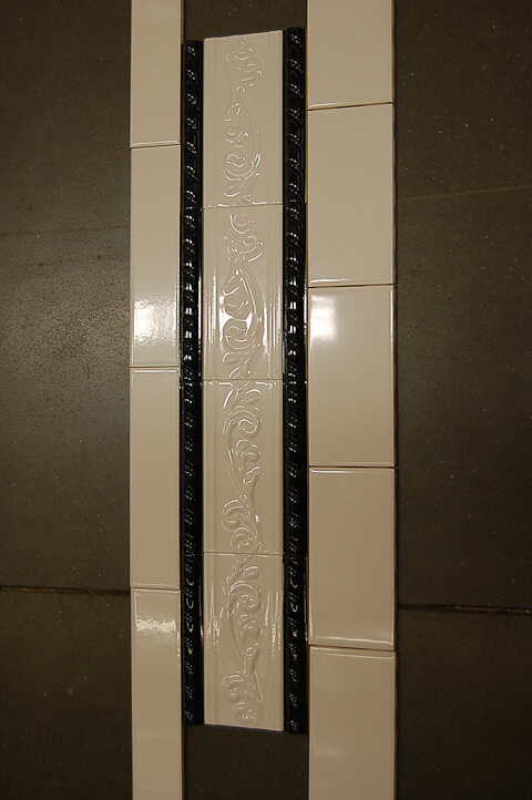black tirm tile for subway tile