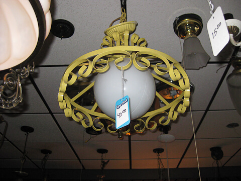 yellow iron swag light