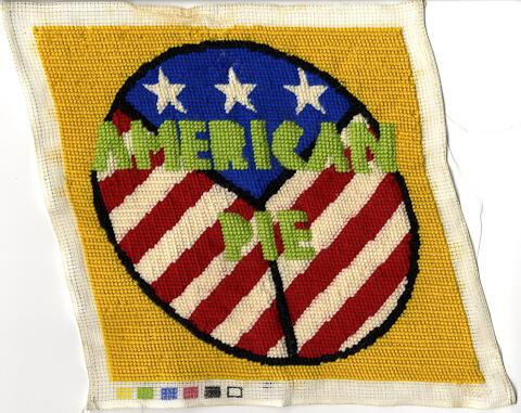 American Pie needlepoint pillow