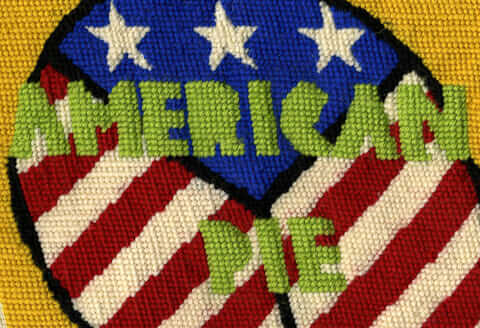 American Pie needlepoint pillow