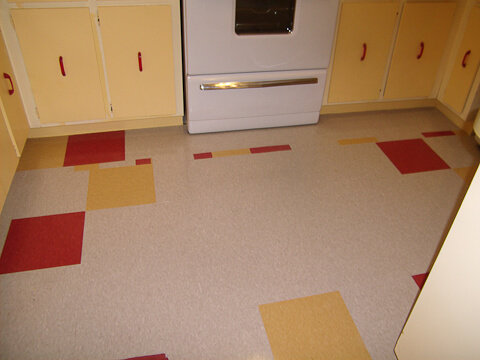 Jana 39 s cheerful yellow red and white kitchen a 1 268 transformation retro renovation - Retro flooring kitchen ...
