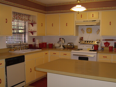 Jana's cheerful yellow, red and white kitchen -- a $1,268