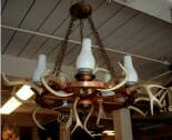 wagon wheel light with antlers