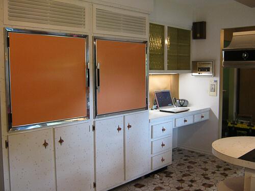 1960s kitchen with wall refrigerator freezer