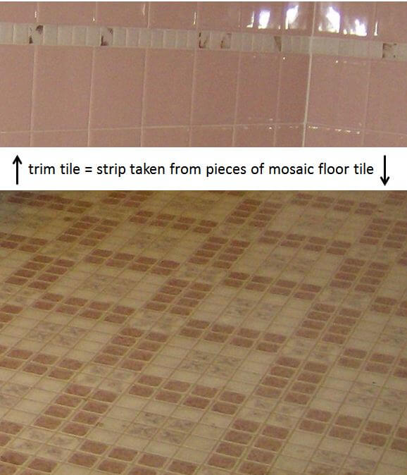 how to use pieces of mosaic floor tile for trim tile