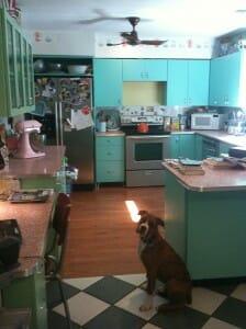 turquoise retro kitchen