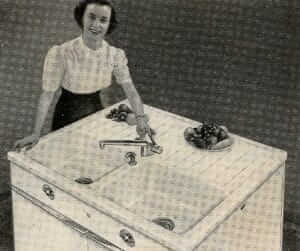 1954 american standard sink with strange porcelain drainboard design