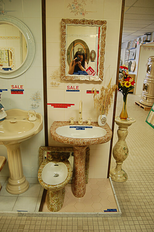 vintage herringbone pattern sink, toilet and mirror set at world of tile