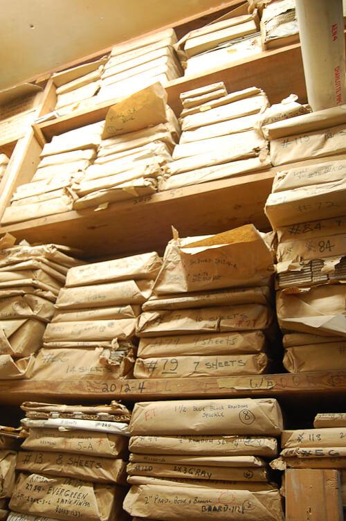 In the wondrous basement warehouse of world of tile for 1960s floor tiles