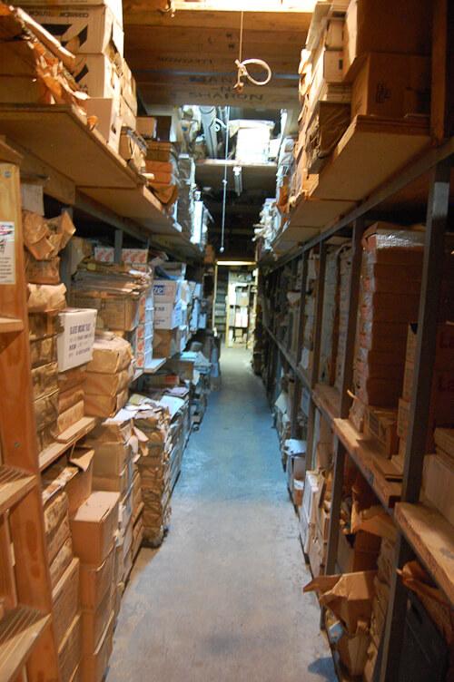 storage area for vintage tile from world of tile