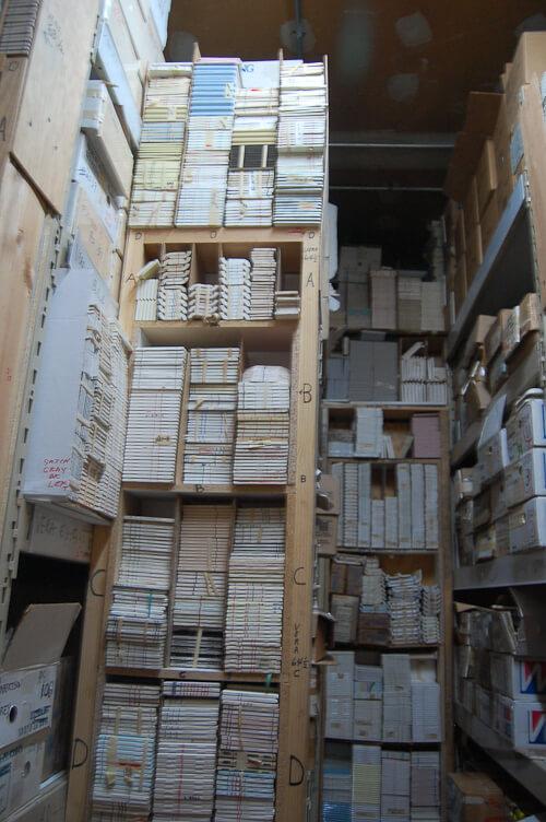 vintage tile storage at world of tile
