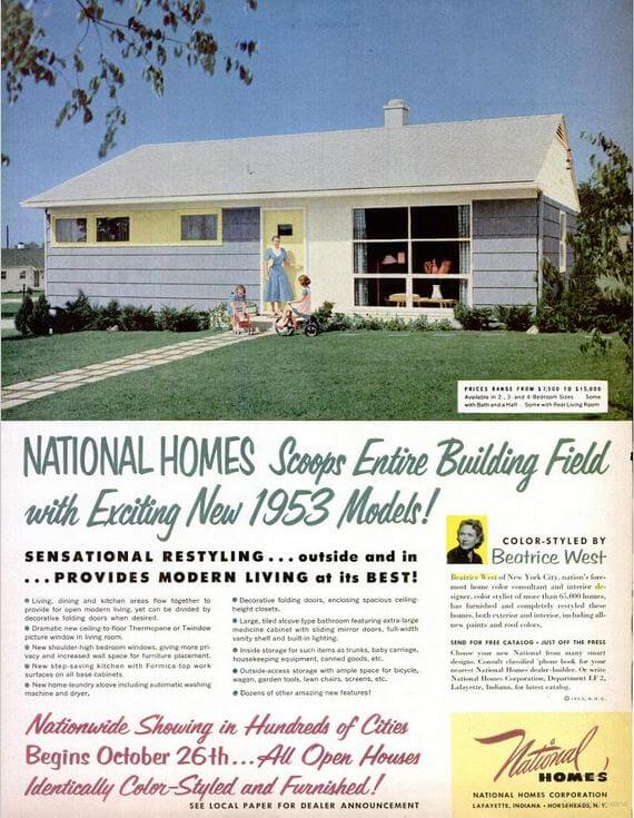 Ad for National Homes October 1952