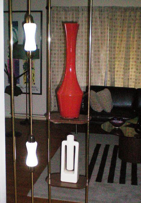mid century modern pole lamp room divider