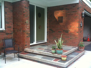 mid century modern porch entry