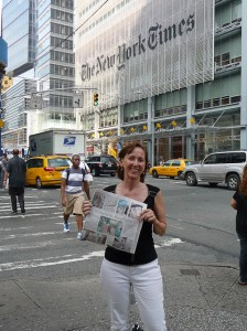 cindy in front of the new york times