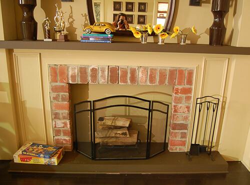 mid century style fireplace