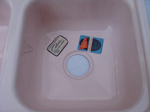 vintage pink kitchen sink