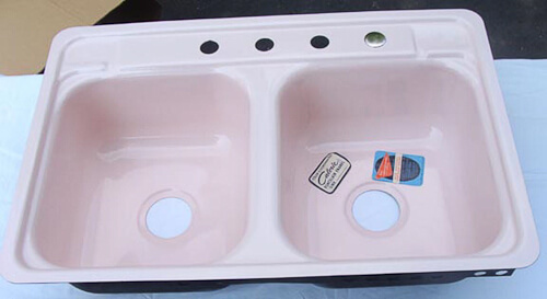 nos vintage caloric pink kitchen sink