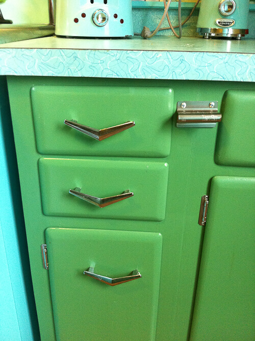 solid wood vintage kitchen cabinets painted green