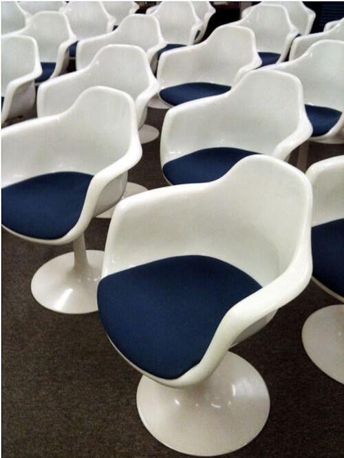 saarinen style fiberglass tulip chairs by krueger