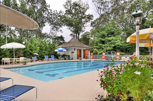 mid century pool house cabana