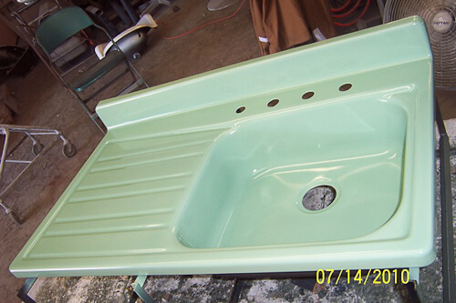 green porcelain sink