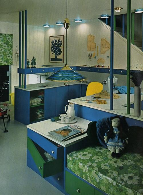blue sewing room with vintage lights