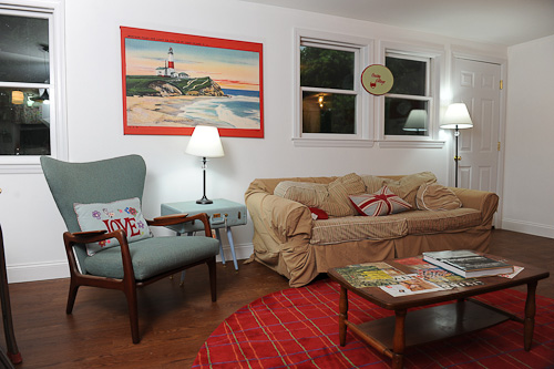 living room in retro summer cottage