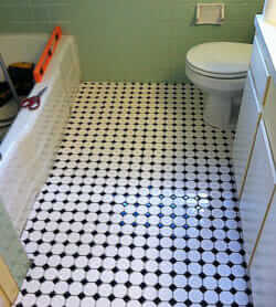 octagon and dot tiles in the bathroom