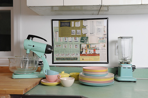 retro kitchen with framed Youngstown kitchens ad
