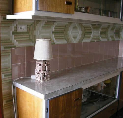 retro wallpaper in the kitchen