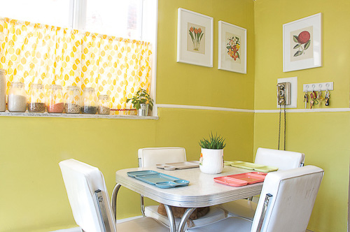 chartreuse paint in a kitchen
