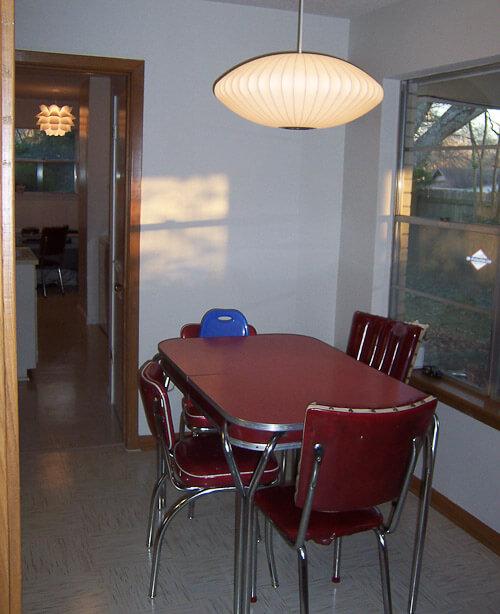 retro kitchen with azrock cortina autumn haze floor tile