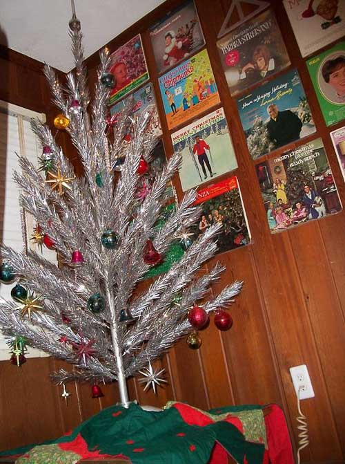 Uncle Atom's aluminum Christmas trees and Christmas albums