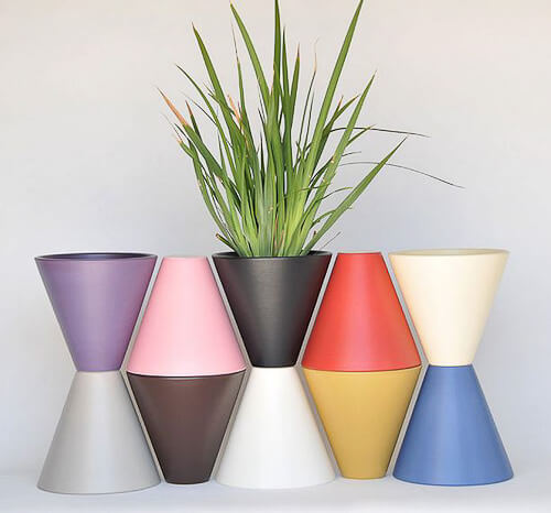 midcentury modern planters in colors