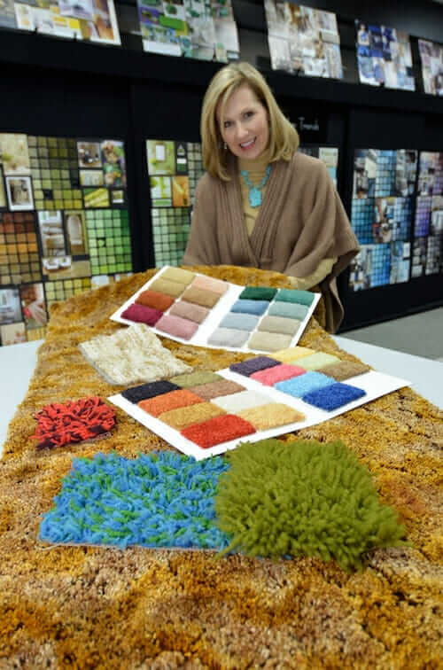 Emily Morrow and retro carpet swatches