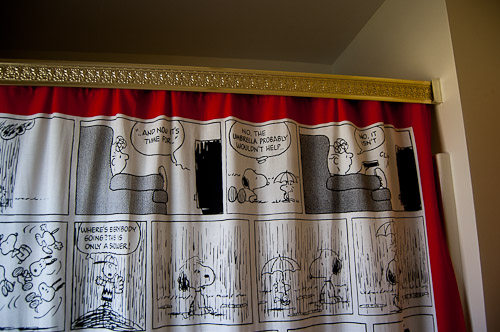 Curtains Ideas snoopy shower curtain : Small bathroom remodel in 5 steps - Retro Renovation
