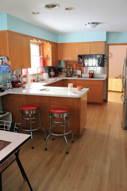 repaint the wood kitchen cabinets