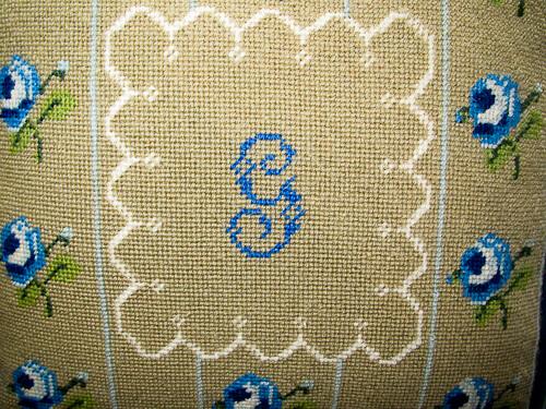 blue needlepoint pillow G