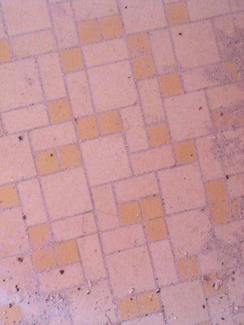 pink tile in gas station bathroom floor