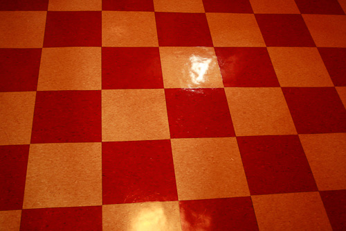red checkerboard floor