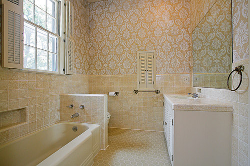 yellow and bone bathroom