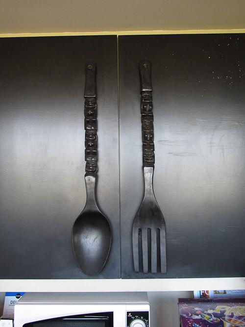 Tiki Diy Turn Ginormous Tiki Forks Amp Spoons Into Cabinet