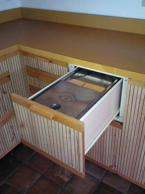 built in bread storage