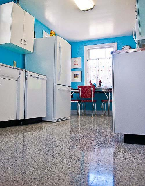 Kitchen flooring with retro appeal azrock vl 130 classic blue gray vinyl tile retro renovation - Retro flooring kitchen ...