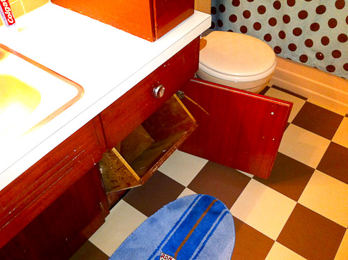 retro wood bathroom vanity