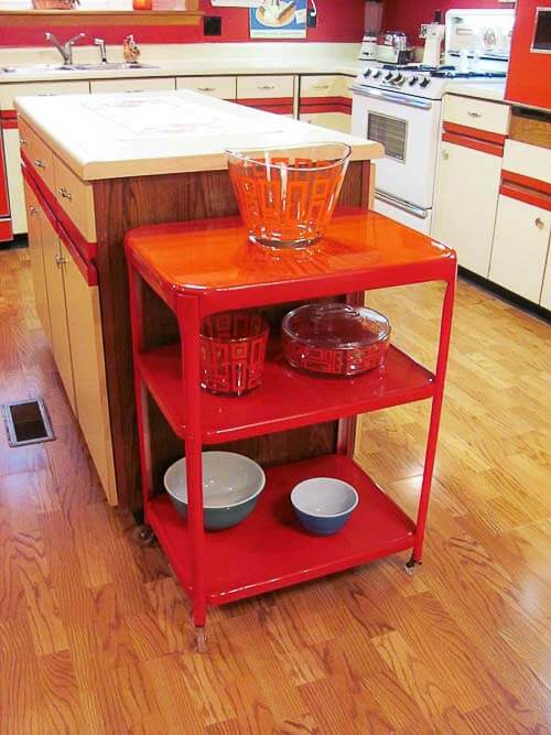 red kitchen cart