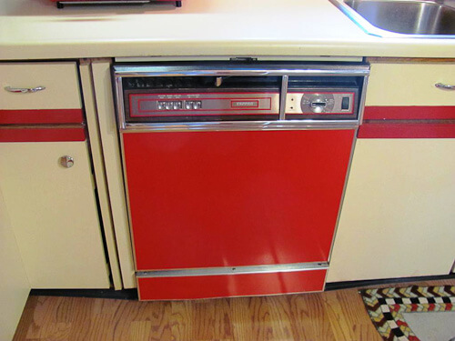 red dishwasher panel