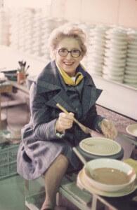 Vera Neumann at pottery wheel